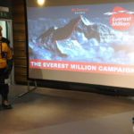 Draper Ultimate Folding Screen used in an Everest Million fundraising presentation at Covent Garden.