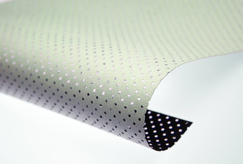 Perforated screens have tiny perforations to allow the audio to pass through the screen material.