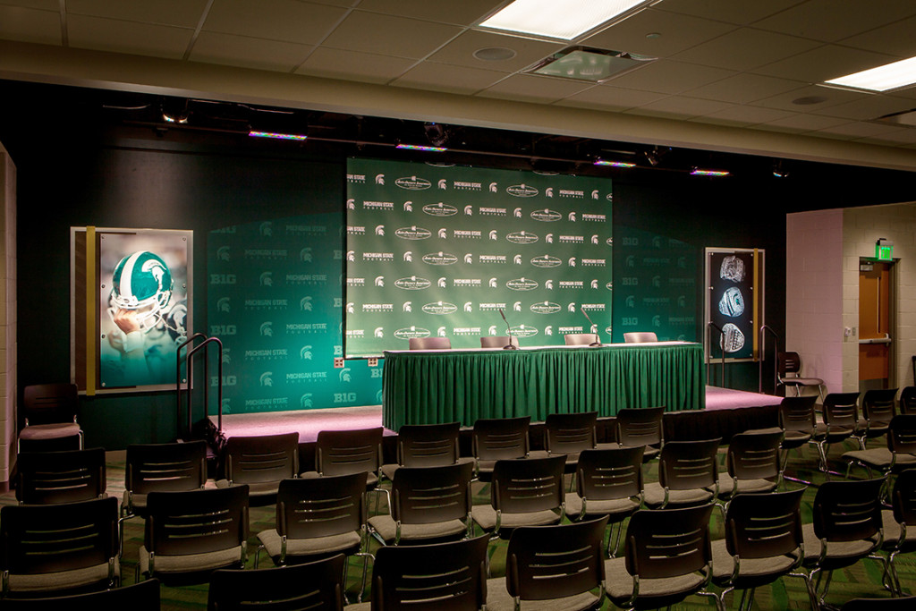 A Custom Printed Background used as a press conference background at Michigan State.