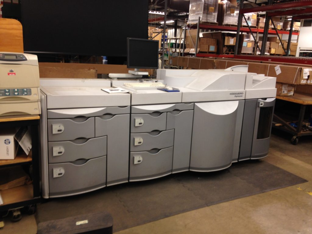 Our old Heidelberg black and white printer, waiting to be packaged and sent away for good..